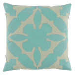 Gloria Applique With Seafoam & Peacock Linen Pillow 22x22 In