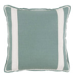 Aquamarine Linen With Oyster Linen Inset Pillow 20 X 20 In | Gracious Style