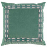 Viridian Velvet With Amalfi Glass Tape Pillow 22 X 22 In | Gracious Style