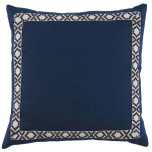Navy Linen With Navy On Off White Camden Tape Pillow 24 X 24 In | Gracious Style