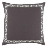 Grey Linen With Camden Tape Gunmetal On White Pillow 24 X 24 In | Gracious Style