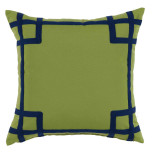 Rio Ginko With Navy Tape Outdoor Pillow 20 X 20 In | Gracious Style