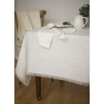 Barra White/Fringe Edge Solid Table Linens | Gracious Style