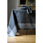 Majesty Pewter/Ivory Damask Table Linens   Gracious Style