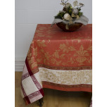 Versailles Coral/Gold Damask Table Linens | Gracious Style