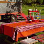 Zingaro Orange Coated Damask Table Linens