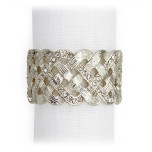 Braid Platinum/White Crystals Napkin Rings, Four