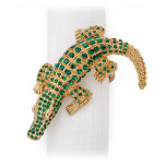 Crocodile w/Green Crystals Gold Set of 4 Napkin Jewels | Gracious Style