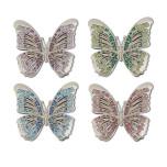Butterflies Platinum Napkin Rings Set of Four Napkin Rings - Platinum