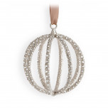 Globe Platinum + White Crystals 3 x 3.5 in Ornament | Gracious Style