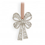 Antique Bow Tie Platinum + White Crystals 2.5 x 3.5 in Ornament | Gracious Style