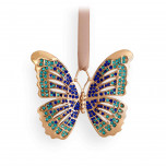 Butterfly Gold + Blue Crystals 3 x 2.5 in Ornament