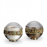 Pave Band w/Multi-Color Crystals Salt & Pepper Shakers Gold Set of 2