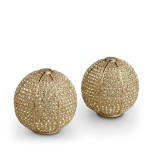 Pave Sphere w/Yellow Crystals Salt & Pepper Shakers Gold Set of 2