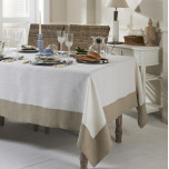 Hamptons Stain-Resistant Table Linens, Beige Border