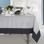 Hamptons Stain-Resistant Table Linens, Gray Border