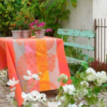 Fleurs Gourmandes Peach Coated Tablecloth Square 69 in