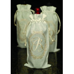 Linen Wine Bags with Oval Script Monogram | Gracious Style