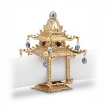 Pagoda w/Crystals + Fresh Water Pearls Gold Set of 2 Napkin Jewels