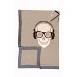 Skull Knit Cashmere Throw Beige