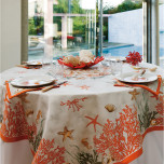Corail Red Stain-Repellent Print Table Linens
