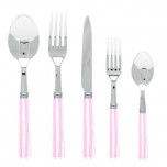 White Stripe Pink Flatware