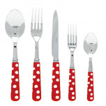 White Dots Red Flatware