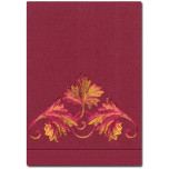 Scroll Guest Linen Embroidered Hand Towels Burgundy White | Gracious Style