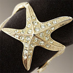Starfish Gold Napkins Rings Swarovski Crystal | Gracious Style