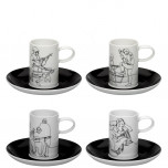 Fado Set 4 Coffee Cups & Saucers (Special Order)