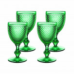 Bicos Set Of 4 Water Goblets Green 6 5/7 in. H 3 4/9 in. W