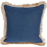 Navy Linen With Eggshell Pipe & Jute Fringe Pillow 24 X 24 In