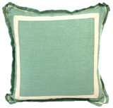 Aqua Linen 20 X 20 Pillow with Natural Twill Tape