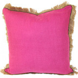 Orchid Linen 24 X 24 Pillow with Mud Pipe and Jute Fringe