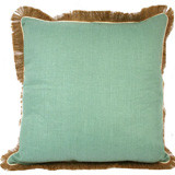 Aqua Linen With Eggshell Pipe & Jute Fringe Pillow 24 X 24 In