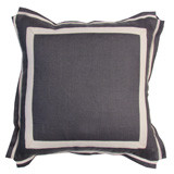 Grey Linen With Natural Twill Tape Pillow 20 X 20 In