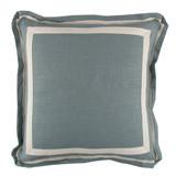 Linen Aquamarine/Natural Twill Tape Pillow, 20 in square