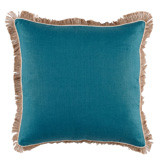 Plasma Linen 24 X 24 Pillow with Eggshell Pipe and Jute Fringe
