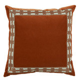 Tangelo Velvet With Amalfi Tangelo Tape Pillow 22 X 22 In