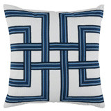 Harbor Lattice Tape On White Flax Pillow 22 X 22 In