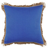 Royal Blue Linen With Oyster Pipe & Jute Fringe Pillow 24 X 24 In