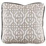 Imperial Bisque 24×24 Pillow with Charcoal Velvet Flange and Turkish Corners