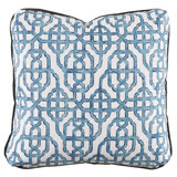 Imperial Seaside 24×24 Pillow with Charcoal Velvet Flange and Turkish Corners