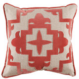 Sultana Applique Coral Velvet On Heavy Basket Pillow 22 X 22 In