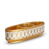 Condiment Dishes Three Sections - Piumette White & Gold 11 x 4 x 3 in