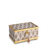 Fortuny Decorative Box Small Piumette White & Gold 6 x 4 x 3.5 in