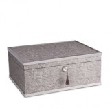 Fortuny Decorative Box Large Moresco Platinum 12 x 9 x 5 in