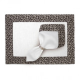 Fortuny Placemats Rabat Black & Platinum (Set of 4) 20 x 14 in