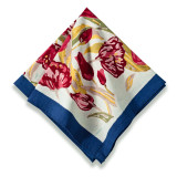 Tulips Turquoise/Navy Napkins 19 x 19 in, Six