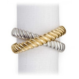 Deco Twist Platinum Napkin Rings - Four